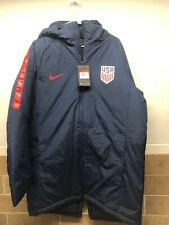 Nike US National Team Soccer Men Blue Stadium Parka Puffer Coat Sz Large RARE