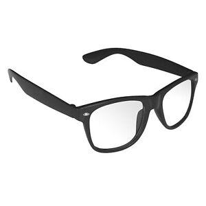 Retro Brille schwarz Hornbrille Nerdbrille Streberbrille Klar Clear Atzenbrille