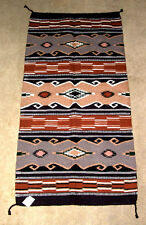 "Hand Woven Wool Throw Rug / Tapestry Southwestern  32x64""  363"
