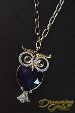 Rose Gold Plated Links Acrylic Beads Austrian Crystal Owl Costume Necklace