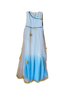 Halloween Costume Girl Size L 12 14 Greek Goddess Gold Leaves Blue Cream Dress