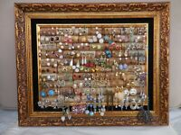 HUGE LOT of VINTAGE to NOW EARRINGS IN GORGEOUS GOLD GILDEDFRAME