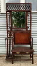 Antique Victorian Stick & Ball Hall Tree Bench Umbrella Stand w/ Beveled Mirror