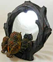 Pair of Owls Looking Into Mirror Figurine Tree Branch