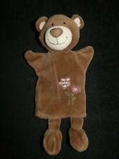 doudou marionnette ours marron blanc rose fleur playkids