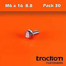 M6 x 16 Flange Bolt High Tensile 8.8 Metric 6mm 16mm Zinc Plated Hexagon Screw