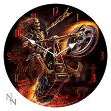 Anne Stokes Hell Rider Skeleton Motorcycle Bike Fire Wall Clock Reloj Esqueleto