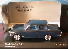 FORD CORTINA MKI 1966 AMBASSADOR BLUE MINICHAMPS 400 082001 1/43 BLEU SOMBRE