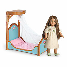 "American Girl CECILE HALF CANOPY BED & BEDDING for 18"" Doll Furniture Retired"