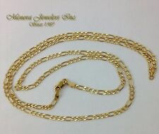 """24"""" 14K Yellow Gold FIGARO Necklace or Pendant Chain Diamond Cut 2.8mm M25 09 58"""