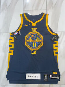 Nike GSW The Bay City Stitched Thompson 11 Authentic Jersey AH6209-430. Size 52