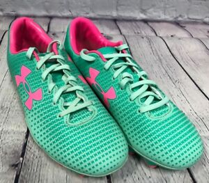 NEW Under Armour Women's Speed Force FG Color Green Quartz Mint Neon Pink 7