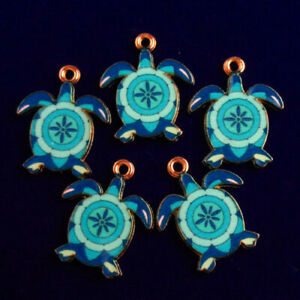 5Pcs 25x18x3mm Tibetan Gold Blue Enamel Tortoise Pendant Bead M48584