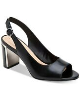 Alfani Womens Florraal Leather Open Toe Ankle Strap Classic Pumps