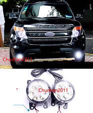 1SET LED Front Head Fog Light lamp Cover Trim for 2011-2014 Ford Explorer new