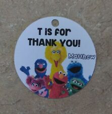 12 Personalized Custom Birthday Party Favor Tags. Sesame Street, big bird, Elmo