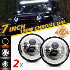 "2x 7""Inch 150W LED Chrome Headlight DRL Angel Eyes For JEEP Wrangler JK TJ LJ CJ"