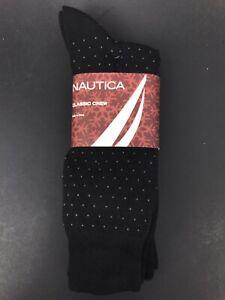 NWT Nautica Mens Classic Crew Black Pack Of 3 Spotted Socks