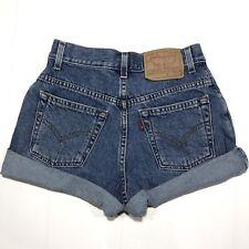 "Levi's Vintage Blue High Rise High Waisted Denim Cuffed Jean Shorts 25"" Size 3"