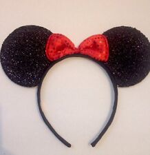 1pc Minnie Mouse Red Bow-Mickey Mouse Ears Headband Shimmer Ears-Disney Costume