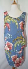 Vtg Granite Blue Floral Tropical Hawaiian Skirt Tank Top Womens M Made in Usa