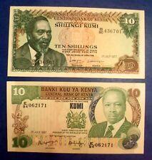 BILLET DU KENYA # RARE # 2 x 10 SHILING 1977 # 1987 #
