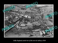OLD LARGE HISTORIC PHOTO OF SELBY ENGLAND, VIEW OF THE TOWN & RAILWAY c1920