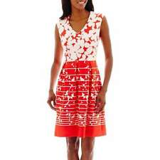 Studio 1- Floral Two Tone ,Fit-and-Flare Dress, Size : 18 ,Ivory& Coral