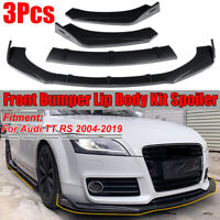 3PC Carbon Fiber Look Front Bumper Lip Spoiler Splitter For Audi TT RS