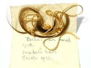 1913 - 3 Locks of Real Hair Bertie & Mabel Rambaut Family a/f in T. Miller Box