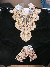 "WOMEN BLACK LACE~METALLIC GOLD BEADED INSERT~STRETCH TOP~LG~chest 37""~23"" L"