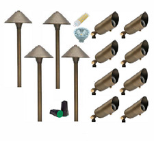 LED Outdoor Low Voltage Brass Path Walkway Landscape Lighting Kit Lights 12-pack