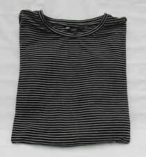 LADIES NEXT BLACK AND WHITE STRIPED TOP WITH FRILLED 3/4 SLEEVES SIZE 16