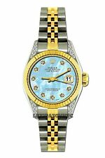 LADIES 26MM ROLEX WATCH 18K GOLD SS DIAMOND CASE WATCH WITH BLUE MOP DIAL