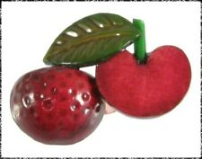 Vintage Realistic 3D Apple Button Red Celluloid