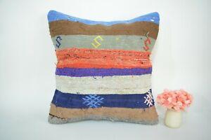 Antique Indian Striped Multicolor Handmade Kilim Pillow Case - Decorative 16x16
