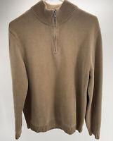 L.L. Bean Mens Pullover Sweater Quarter Zip Mock Neck Brown Size M