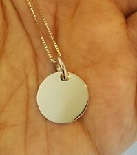10K Solid Yellow Gold Circle Disc Engravable Pendant for Necklace