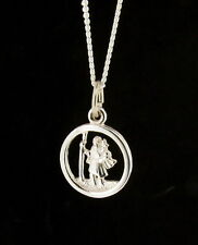 Sterling Silver 10mm Round St Christopher Pendant - Hand Finished Made in the UK