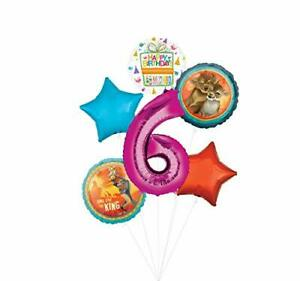 Lion King Party Supplies 6th Birthday Balloon Bouquet Decorations - Pink Numb...