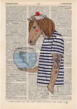 Horse Seahorse Dictionary Art Print Animals Humans Anthropomorphic Nautical Sea