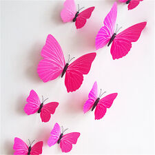12pcs 3D PVC Butterfly Wall Sticks Stickers Art Home Decor DIY Room Magnetic New