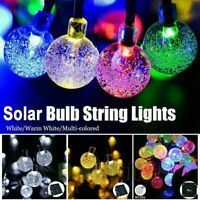 Outdoor LED String Lights Solar Yard Garden Wedding Party Crystal Ball Bulb Lamp