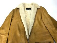 Vintage Shearling Coat Genuine Real Sheepskin Rancher Jacket Western Mens Small