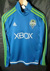 Adidas Formation Seattle Sounders Long Sleeve 3 Stripe Blue Xbox Jersey Size S
