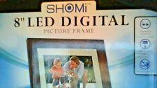 "SHOMI 8"" LED DIGITAL FRAME - DARK WOOD FRAME - SD & MMC READER - CLOCK - USB"