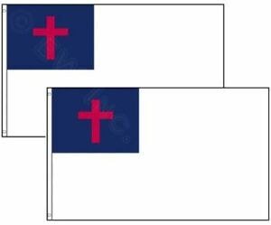 TWO PACK of Christian Religious Flag Polyester 3x5 ft Indoor and Outdoor