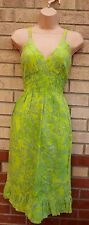 YOUNG FASHION NEON GREEN FLORAL BOHEMIAN SUMMER FLIPPY SKATER TEA DRESS S M