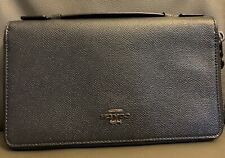 Coach Navy Blue Leather Double Zip Travel Organizer Wallet F23334