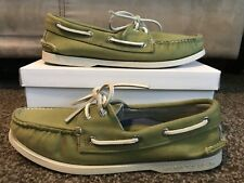 Mens Sperry Top Sider Olive Green Casual Loafers Boat Shoes Size 9M